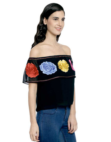 Black Georgette Off Shoulder Top With Multi Colour Embroidery