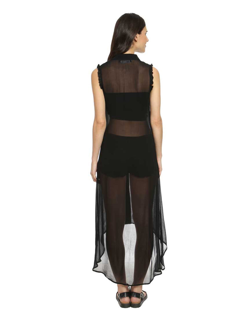 Black Faux Georgette Sheer Long Top