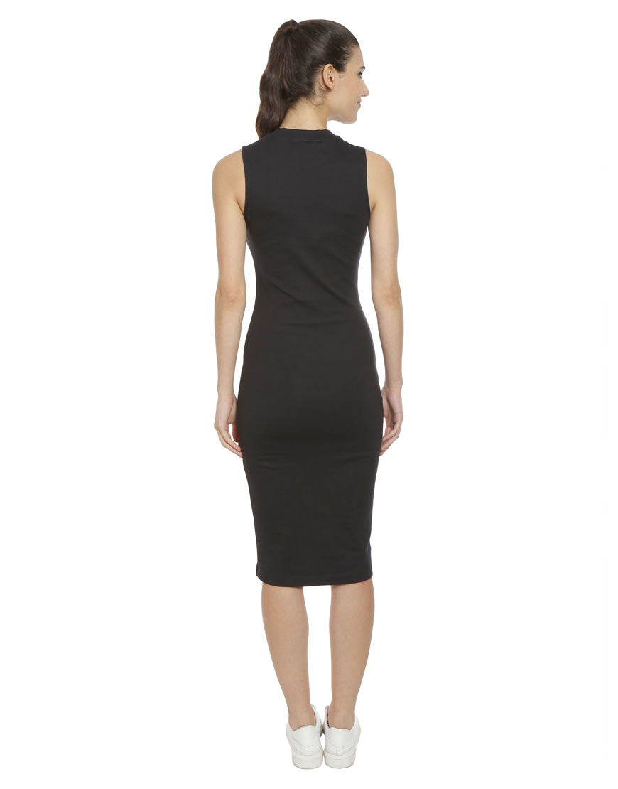 Black Fitted Cotton Lycra Bodycon Knit Dress