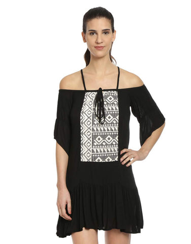 Black Off Shoulder Strappy Viscose Dress