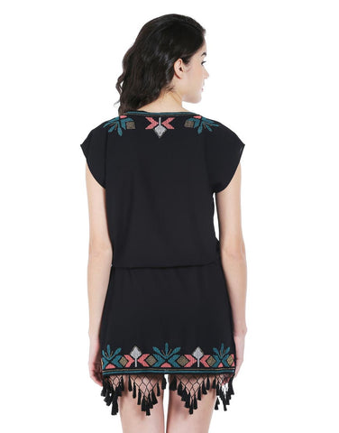 Black Crepe Belted Shift Dress With Beaded Embroidery And Tassels