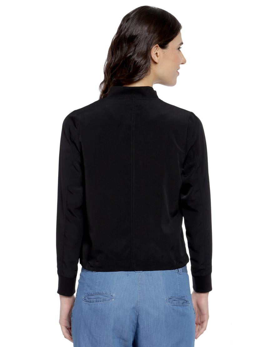 Black Polyester Bomber Jacket With Embroidery