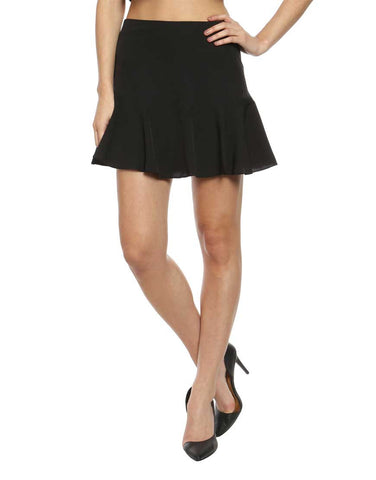 Black Crepe Fit and Flare Skirt