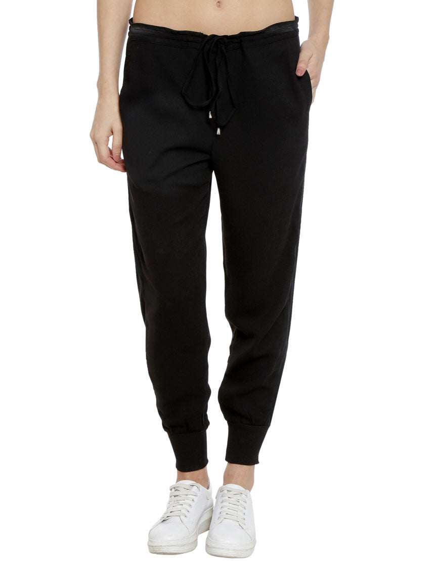 Black Crepe Joggers With Drawstring