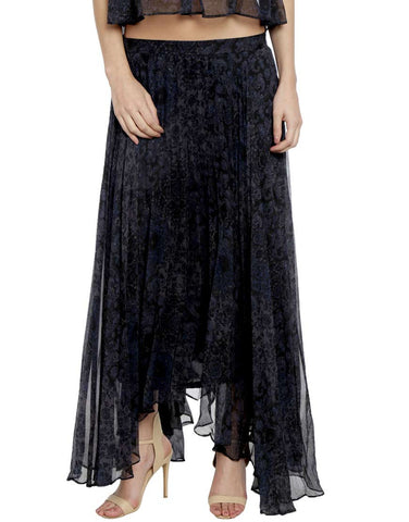 Black Chiffon Printed Pleated Flared Maxi Skirt