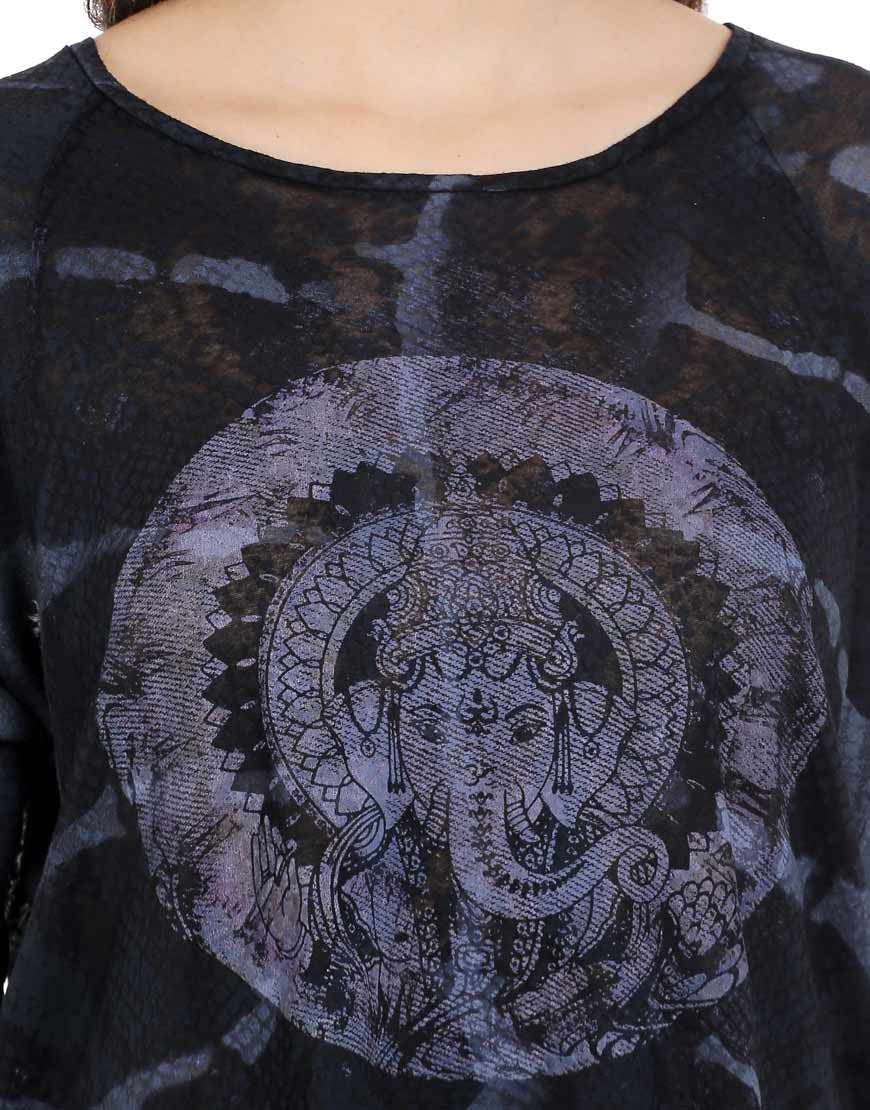 Black Polyester & Cotton Ganesha Tee