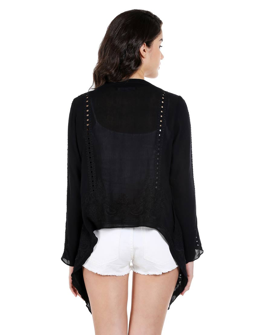 Black Rayon Coverup With Cut Work Embroidery