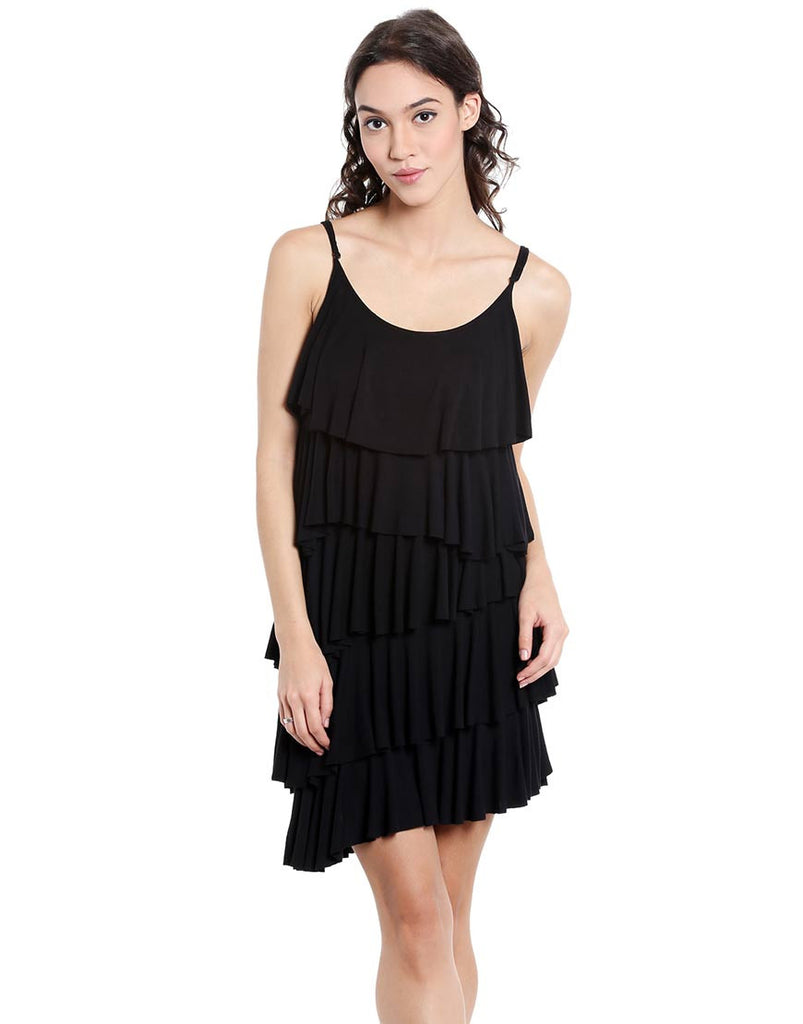 Black Viscose Layered Fringe Mini Dress