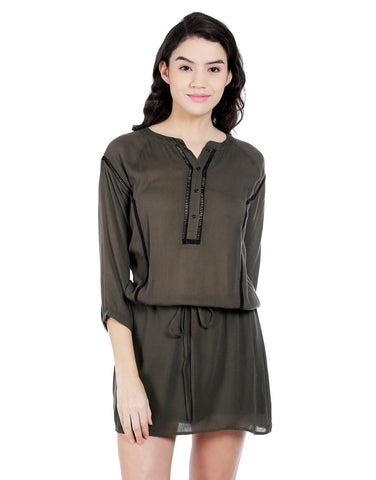 Black Viscose Olive Green Shirt Dress With Ladder Lace