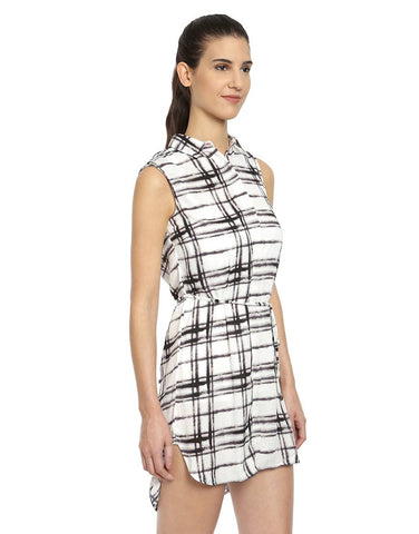 Black & White Check Print Polyester Checkered Print Shirt Dress