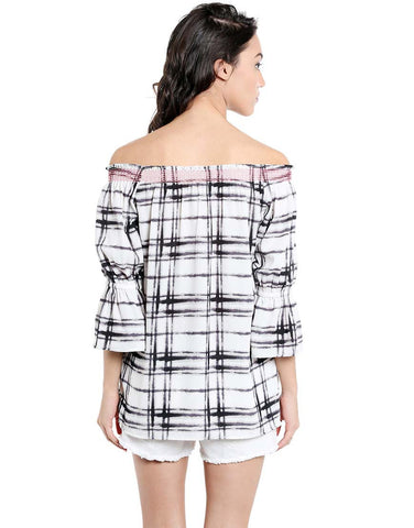 Black & White Check Print Polyester Off Shoulder Top