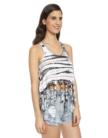 Black & White Cotton Tie-Dye Tassel Crop Top