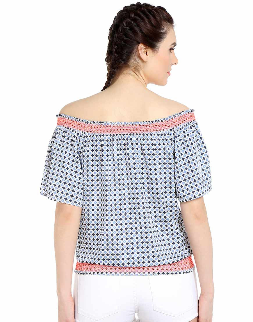 Blue Circle Diamond Print Polyester Off Shoulder Top