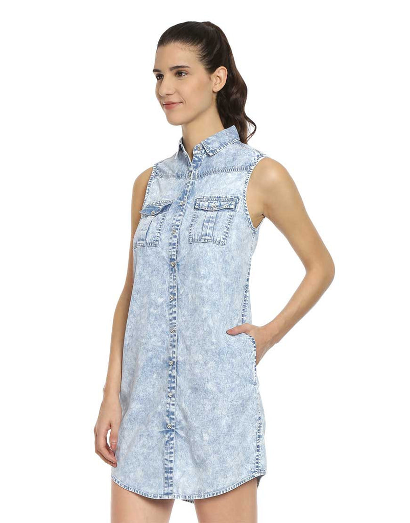 Blue Denim Sleeveless Shift Dress