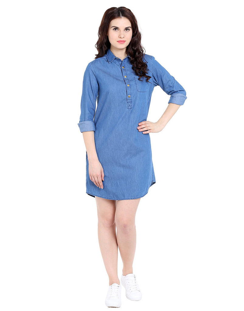 Blue silky denim long sleeve shirt dress love genration Women s long sleeve shirt dress