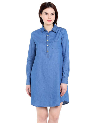 Blue Silky Denim Long Sleeve Shirt Dress