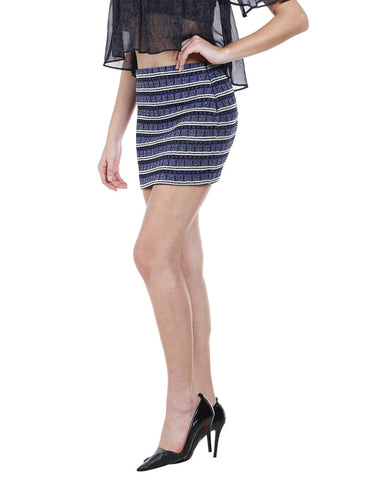 Blue Striped Knitted Lurex Mini Skirt