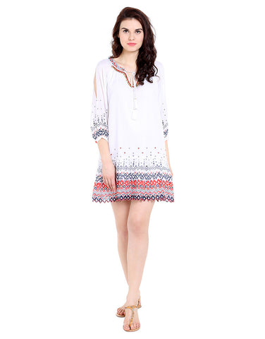 Coachella Printed Rayon Cold Shoulder Dress
