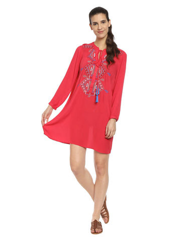 Coral Boho Rayon Shift Dress