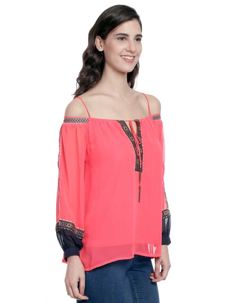 Coral Pink Georgette Off Shoulder Peasent Top