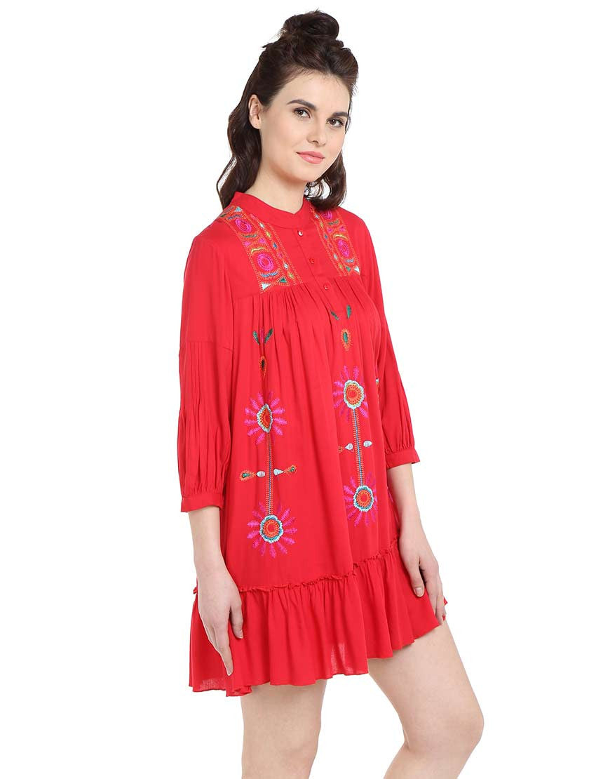 Coral Rayon Embroidered Tent Dress