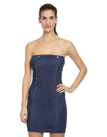 Dark Blue Denim Bodycon With Mettalic Buttons