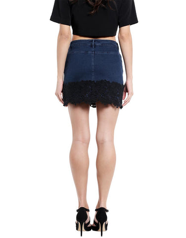 Dark Blue Denim Mini Skirt With Black Lace