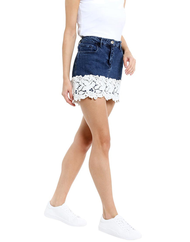 Dark Blue Denim Mini Skirt With White Lace