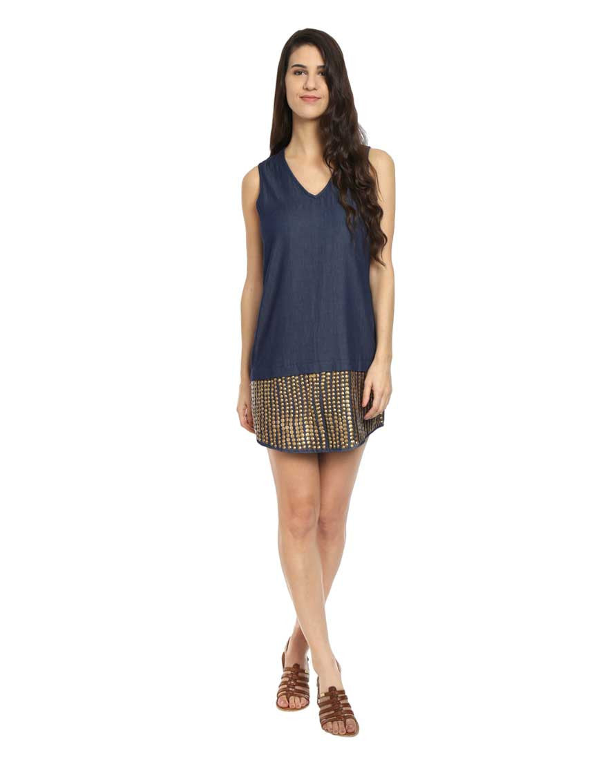 Dark Blue V Neck Shift Denim Dress With Metallic Stud Embroidery