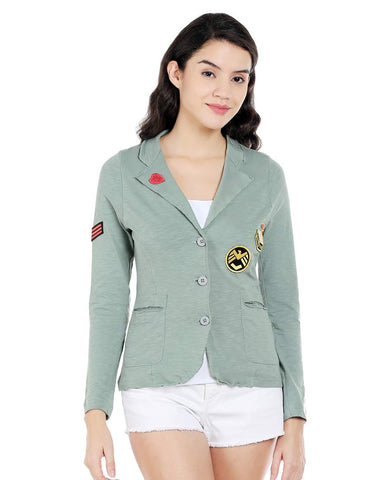 Green Cotton Knitted Jacket With Badges