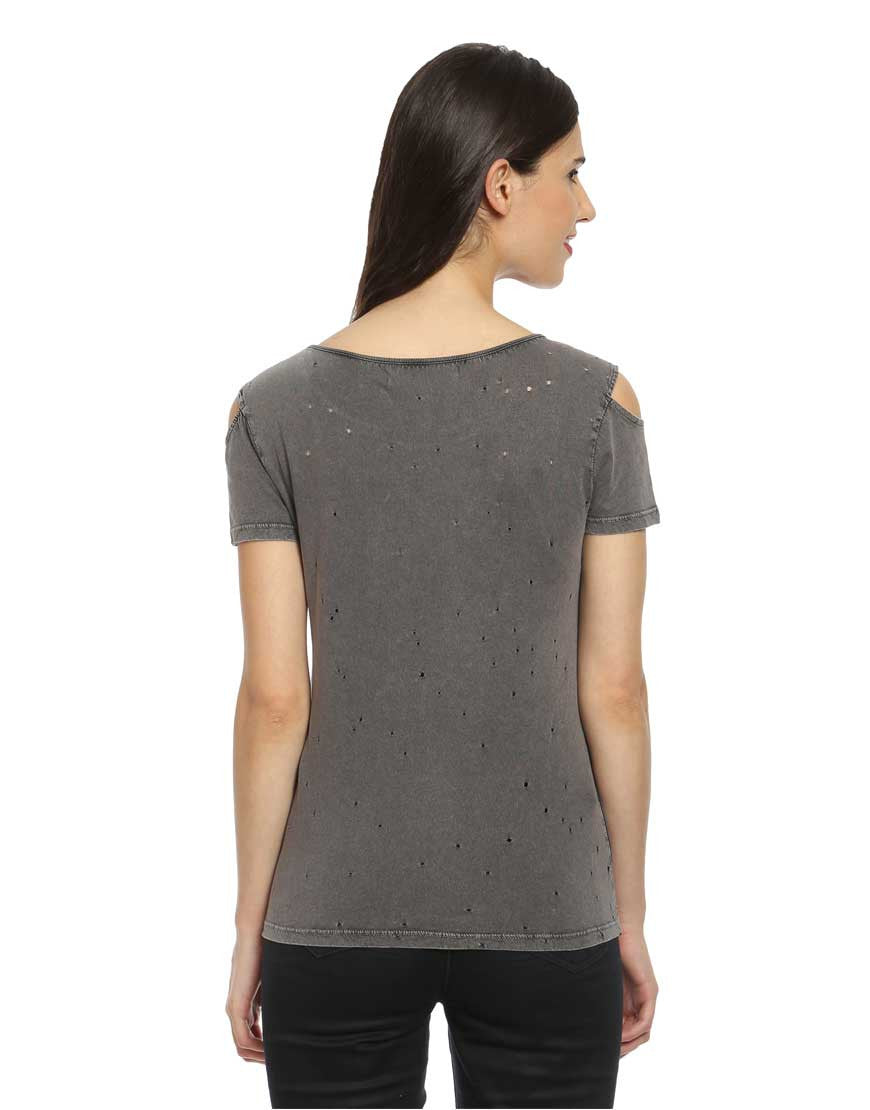 Grey Cotton Cold Shoulder Top With Holes