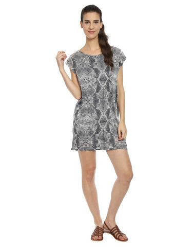 Grey Reptile Print Shift Dress