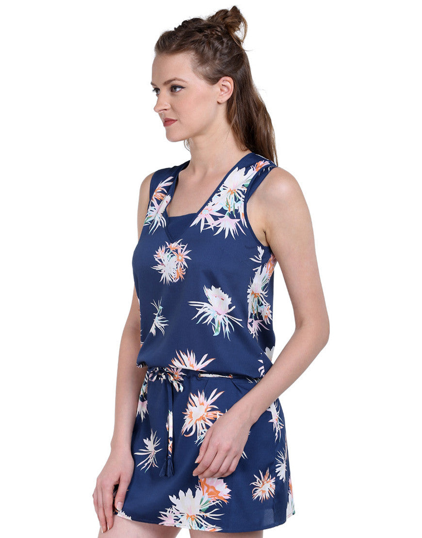 Navy Floral Print French Crepe Sleeveless Dress