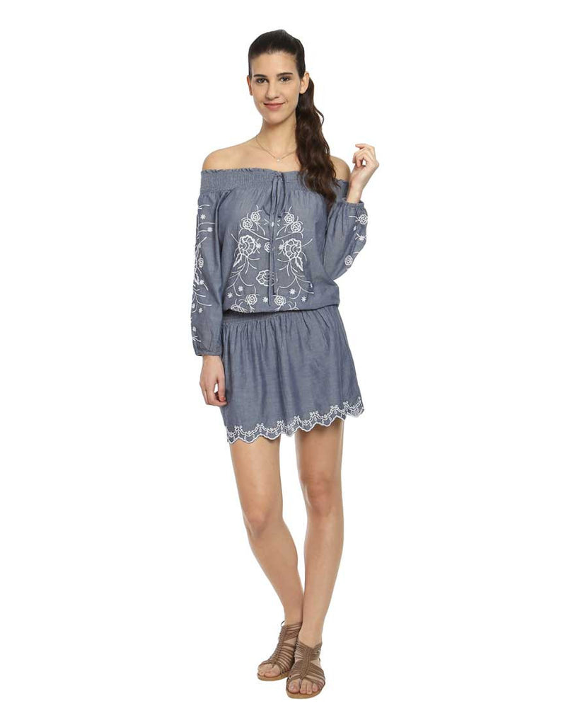Indigo Off Shoulder Chambray Dress With Embroidery