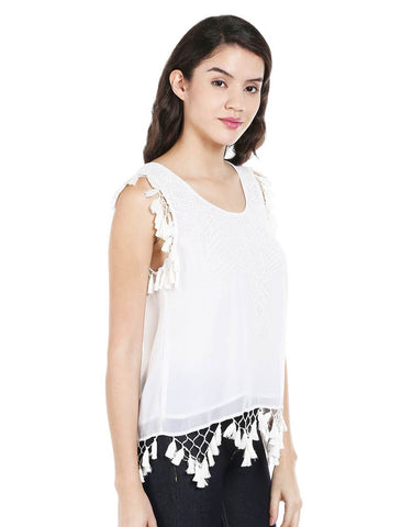 Ivory ggt Sleeveless Embroidered Tassel Top
