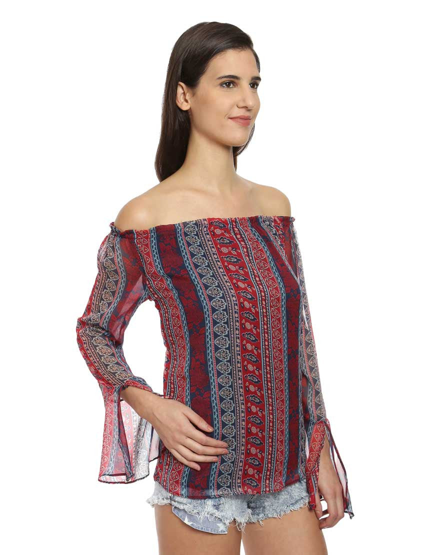 Kate Print Georgette Bell Sleeve Off Shoulder Top