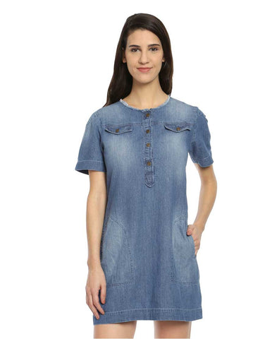 Light Blue Denim Shift With Pocket Flaps And Raw Edged Neckline