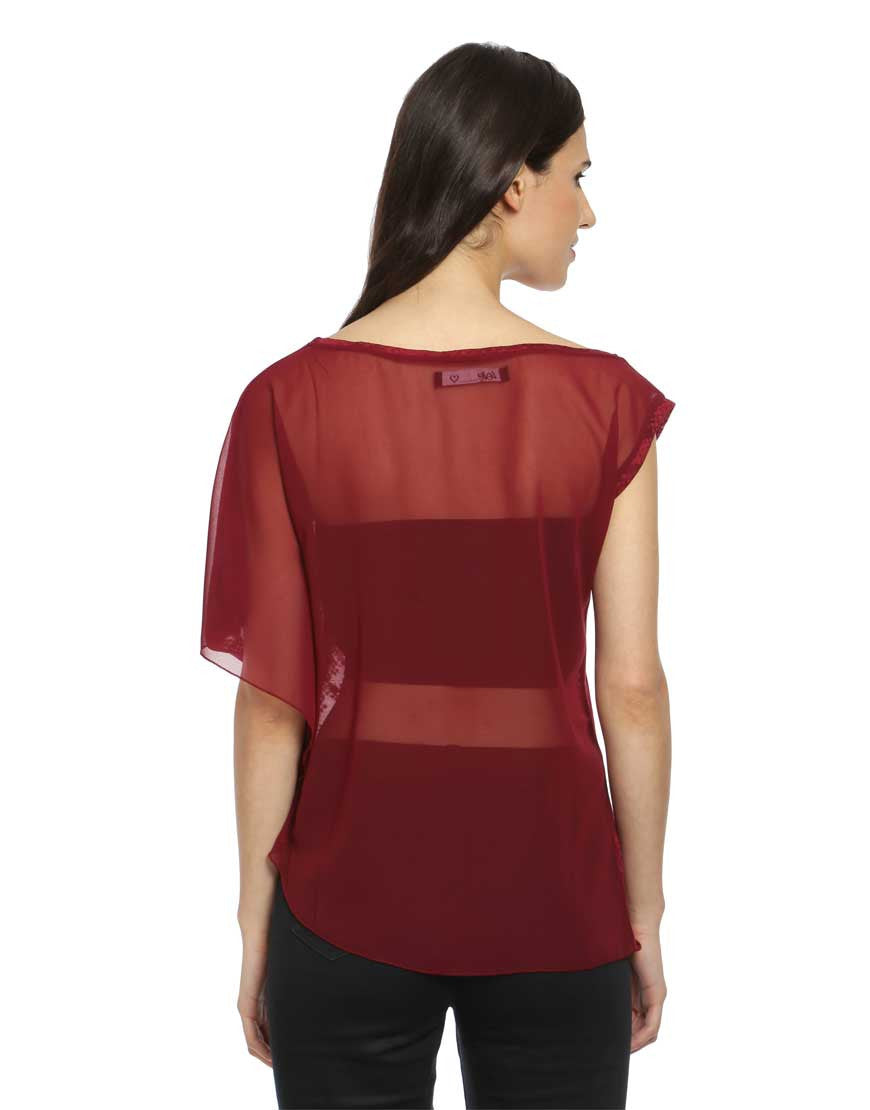 Maroon Burn Out One Side Ruffle Sleeve Top