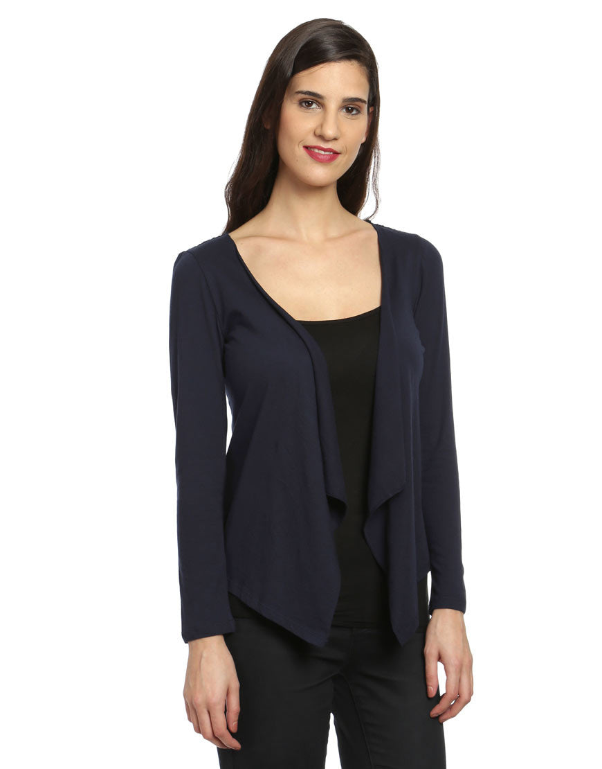 Navy Cotton Cover Up Jacket