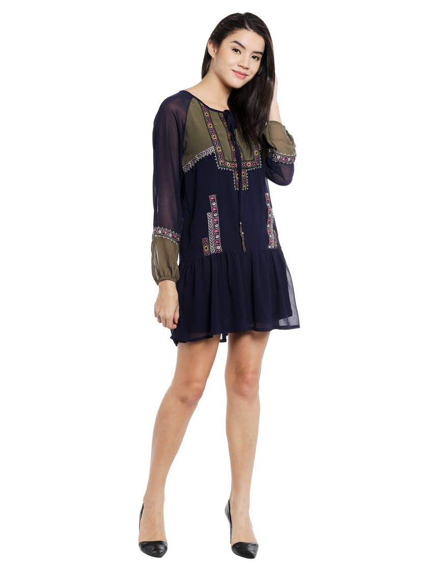 Navy Embroidered Woven Polyester Dress