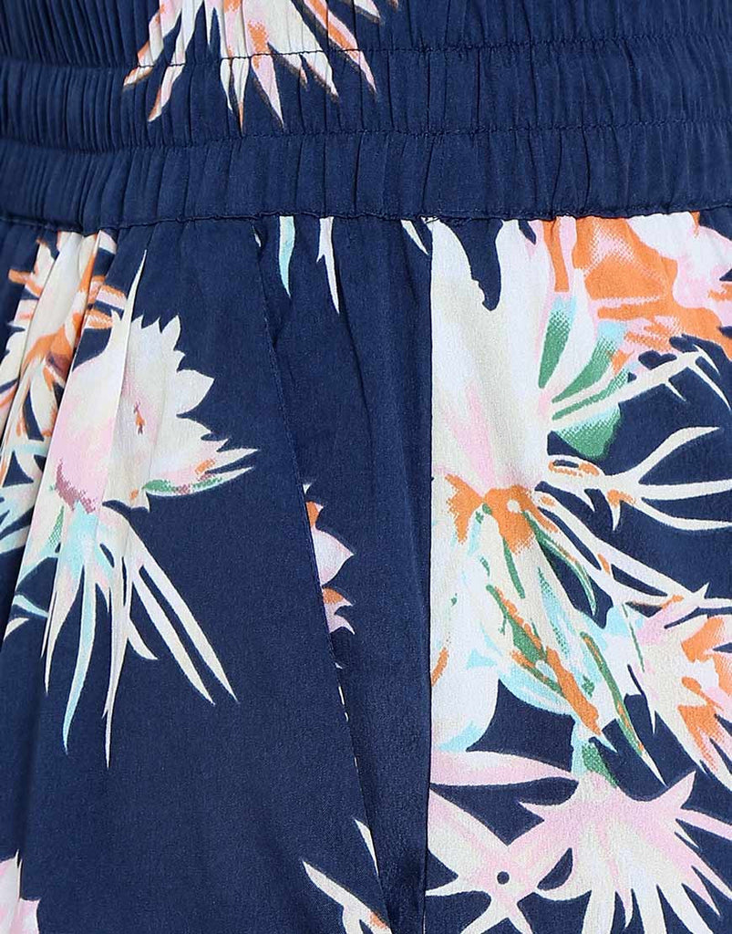 Navy Floral Print French Crepe Palazzo`s