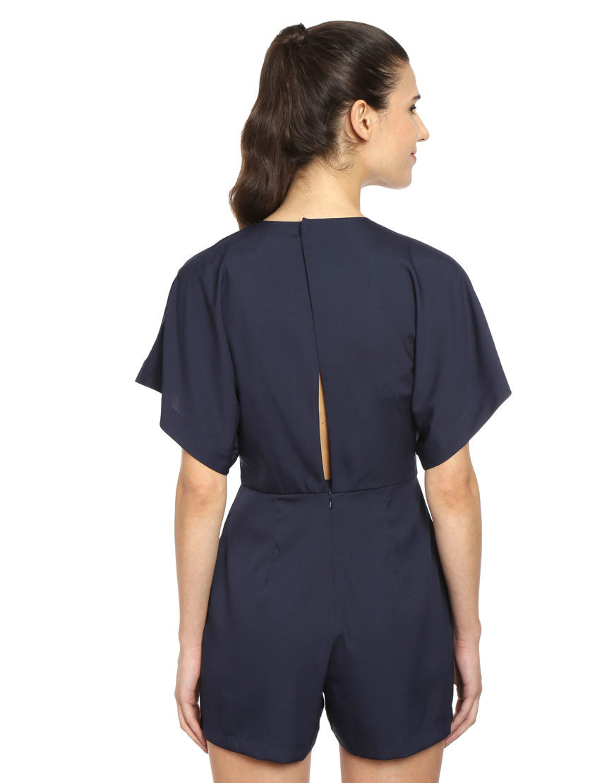 Navy Crepe Playsuit With Back Opening