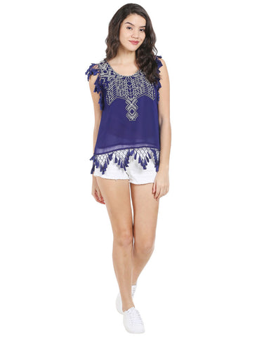 Navy ggt Sleeveless Embroidered Tassel Top