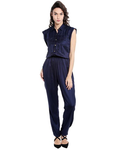Navy Rayon Twill Jumpsuit With Gold Buttons