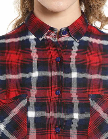 Navy & Red Plaid Cotton Shirt