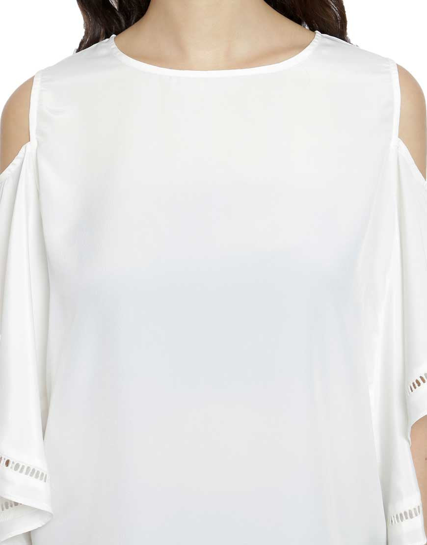 Off White Crepe Cold Shoulder Top