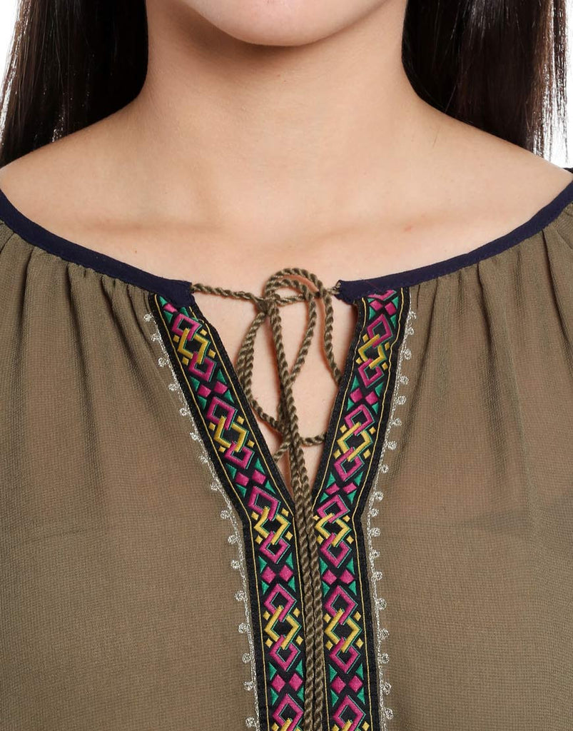 Olive Embroidered Woven Polyester Peasant Top