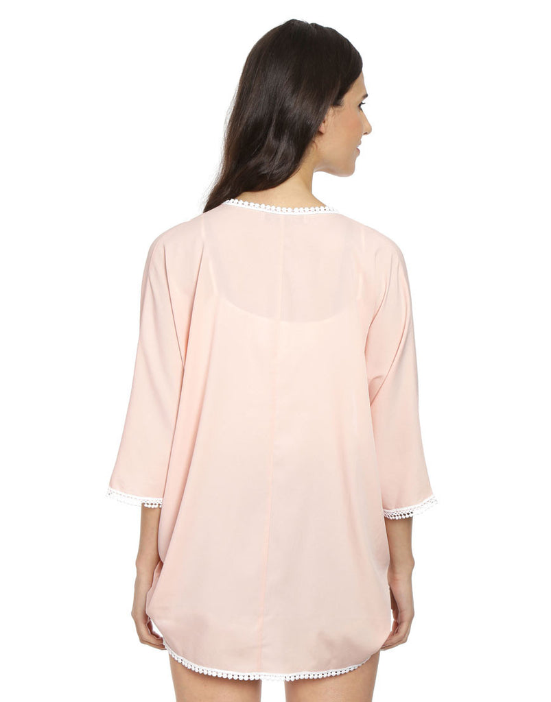 Pink Solid Woven Polyester Cover Up