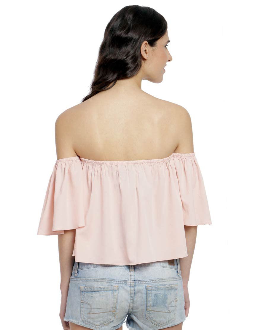 Pink Solid Woven Polyester Off-Shoulder Top