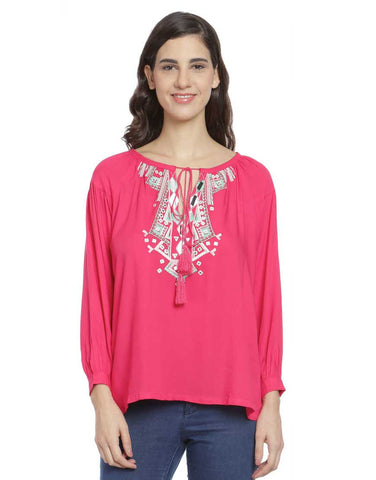 Pink Viscose Embroidered Top